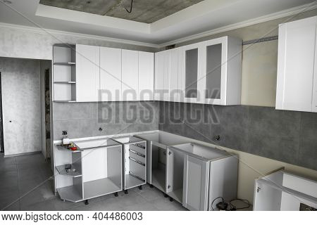 Custom Kitchen Cabinets Installation With A White Furniture Facades Mdf. Gray Modular Kitchen From C