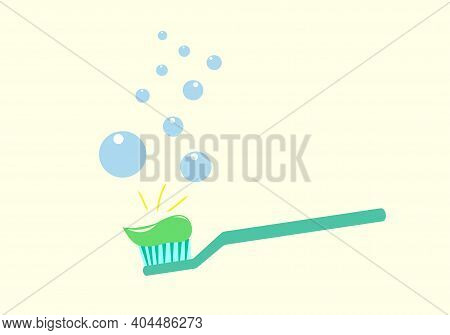 Toothbrush With Toothpaste. Apple Toothpaste. Children's Toothpaste. Bubbles Around The Toothbrush.