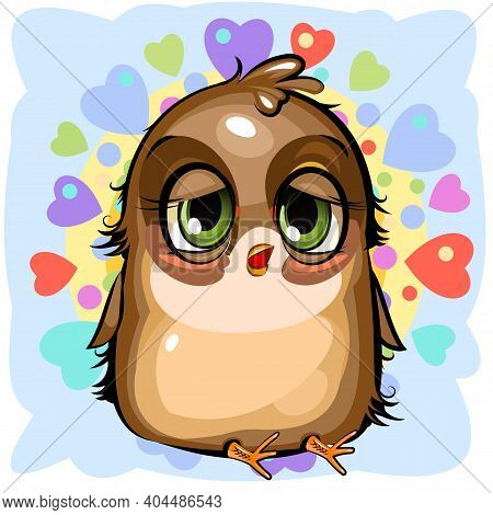 Sleepy Sparrow. Funny Chick. Wants To Sleep. Cute And Funny Baby Bird. The Isolated Object On A Whit