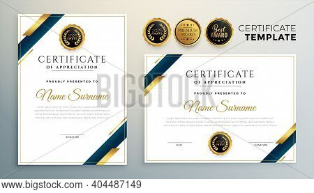 Premium Certificate Template With Golden Geometric Shapes