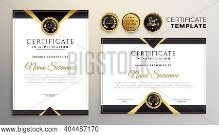 Black And Gold Premium Multipurpose Certificate Template