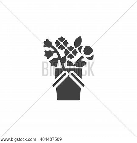 Basket Of Flowers Vector Icon. Filled Flat Sign For Mobile Concept And Web Design. Flowers Bouquet B