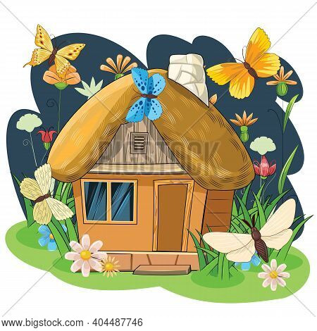 Old House With A Thatched Roof. Stone House. Fabulous Cartoon Object. Cute Childish Style. Ancient D