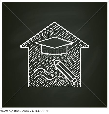Education Freedom Chalk Icon. Learning The Right Subjects. Home Education Concept. Distant Remote Te
