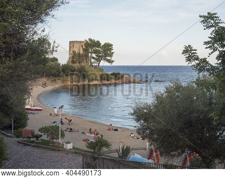 Santa Maria Navarrese, Sardinia, Italy, September 6, 2020: View Of Spiaggia Di Santa Maria Navarrese