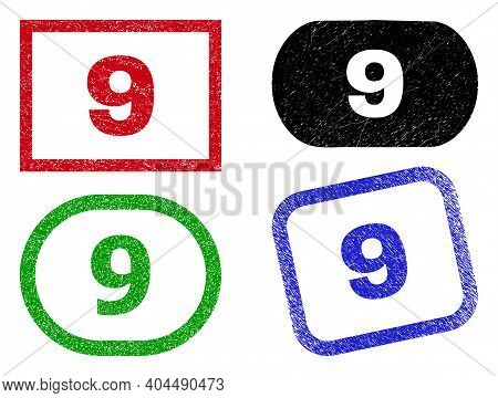 9 Grunge Watermarks. Flat Vector Grunge Seals With 9 Tag Inside Different Rectangle And Rounded Fram