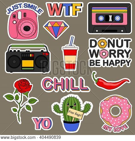 Set Of Stickers For A Teenager. Fashion Patches. Comic Doodle Girl Badges, Teenage Cute Cartoon Stic