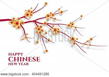 Happy Chinese New Year Celebration Greeting With Sakura Flowers Vector