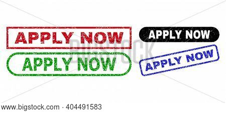 Apply Now Grunge Stamps. Flat Vector Grunge Seal Stamps With Apply Now Phrase Inside Different Recta