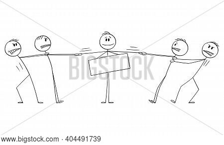 Two Groups Of Men Playing Tug-of-war For Man, Client Or Employee With Empty Sign, Business Vector Ca