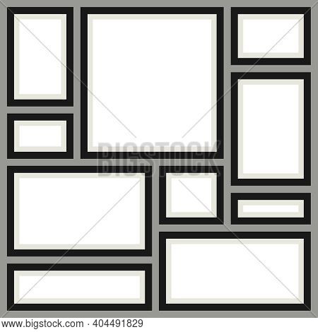 A Set Of Frames For Pictures On A Background Of A Gray Wall. Set Of Vintage Picture Frames. Vector,