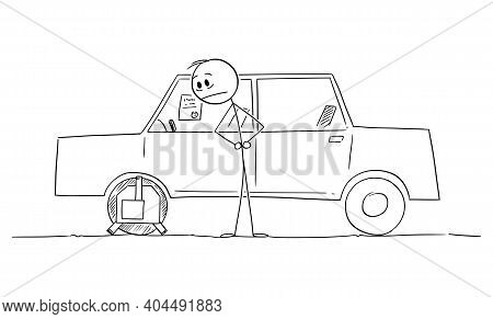 Driver Or Owner Watching Wheel Clamp Installed On His Car, Vector Cartoon Stick Figure Or Character