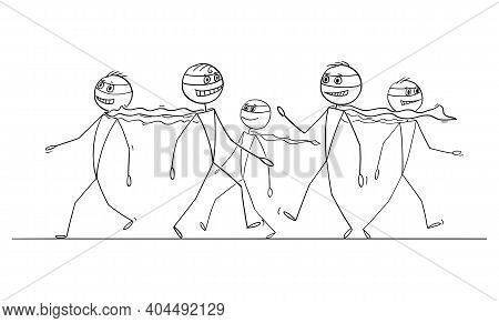 Crowd Of Average Heroes Or Superheroes Walking On The Street , Vector Cartoon Stick Figure Or Charac