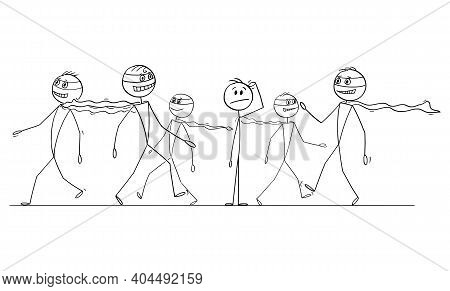 Average Man Thinking In Crowd Of Confident Superheroes, Vector Cartoon Stick Figure Or Character Ill