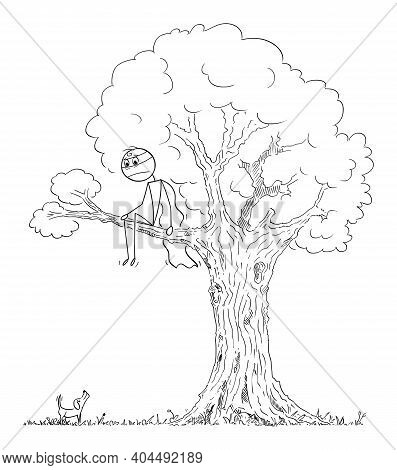Frightened Hero Or Superhero Is Hiding From Small Dog Sitting On Branch Of The Tree, Vector Cartoon