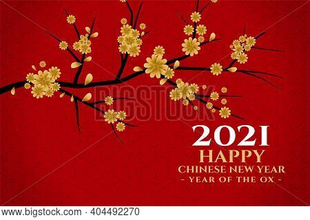 Happy Chinese New Year 2021 With Sakura Flower Card Vector