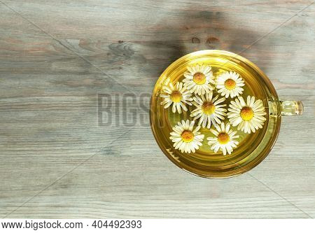 Chamomile Tea In A Glass Mug With Chamomile Flowers In Bright Sunlight On A Gray Blue Wooden Backgro