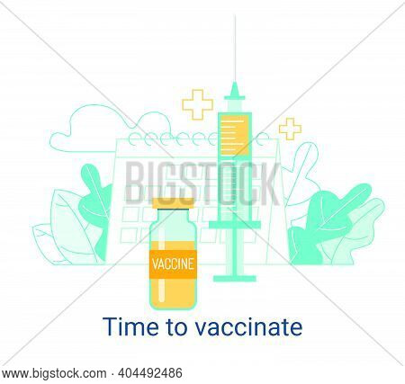 Immunization Campaign. Vaccination Concept. Health Care And Medical Treatment .. Syringe And Vial Ag