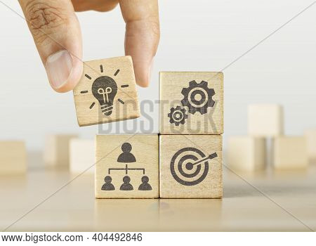 Business Strategy, Business Management Or Business Success Concept. Hand Is Putting The Last Piece O
