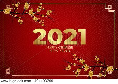 Happy Chinese New Year 2021 Sakura Flowers On Red Background Vector
