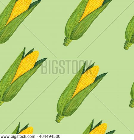 Gold Corn In The Husk Geometric Seamless Pattern On Green Background. Nice Maize Watercolor Illustra
