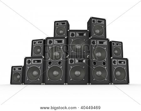 Stack of concert speakers on white background. Computer generated image.