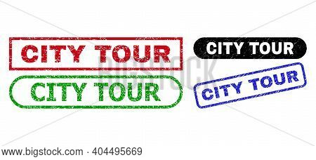 City Tour Grunge Seal Stamps. Flat Vector Grunge Watermarks With City Tour Phrase Inside Different R