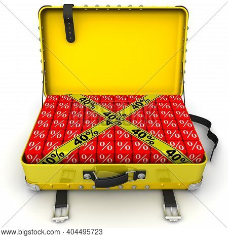 Suitcase Filled With Discounts Of 40%. Financial Concept. Open Yellow Suitcase Full Of Cubes With Wh
