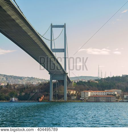 Tower Of Bosporus Suspension Bridge, Ortakoy District, Istanbul Turkey