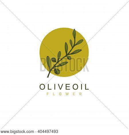 Olive Oil, Droplet And Flower Logo Design