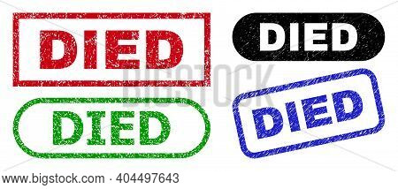 Died Grunge Watermarks. Flat Vector Scratched Watermarks With Died Tag Inside Different Rectangle An