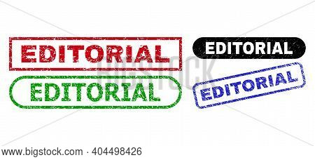 Editorial Grunge Seal Stamps. Flat Vector Grunge Watermarks With Editorial Slogan Inside Different R