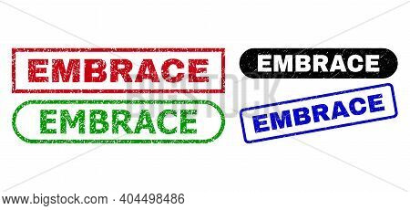 Embrace Grunge Seal Stamps. Flat Vector Distress Seal Stamps With Embrace Slogan Inside Different Re