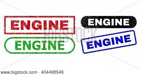 Engine Grunge Watermarks. Flat Vector Distress Watermarks With Engine Phrase Inside Different Rectan