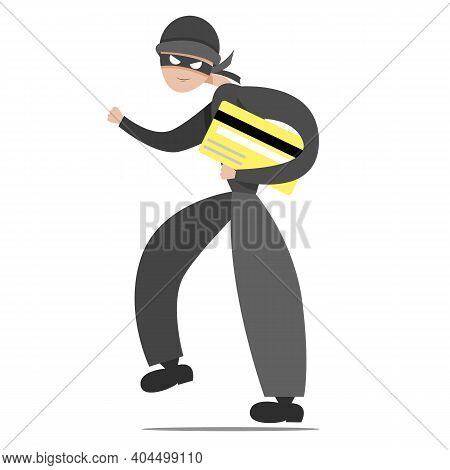 The Thief Escapes With A Credit Card. Thief In A Mask.