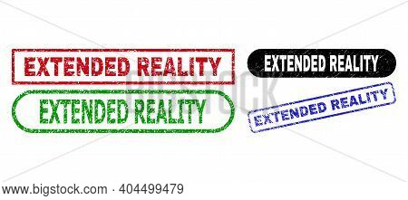 Extended Reality Grunge Seals. Flat Vector Textured Watermarks With Extended Reality Title Inside Di