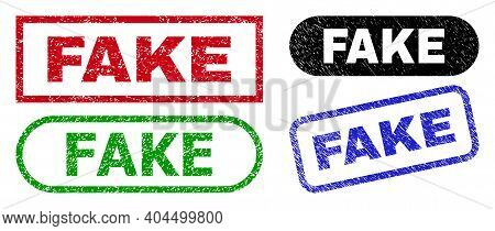 Fake Grunge Seal Stamps. Flat Vector Textured Stamps With Fake Phrase Inside Different Rectangle And