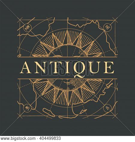 Vector Banner Or Logo For An Antique Store With An Ornate Inscription Antique, Hand-drawn Sun And A