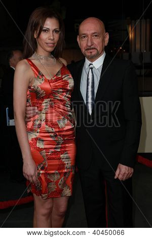 LOS ANGELES - JAN 28:  SIR BEN KINGSLEY & DATE arriving to Director's Guild Awards 2012  on January 28, 2012 in Hollywood, CA