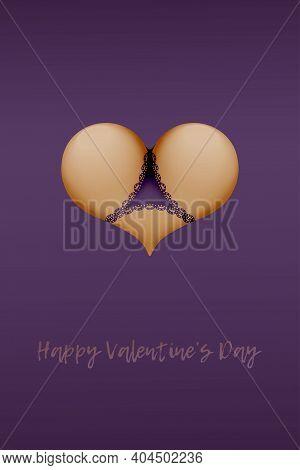 Valentine's Day Heart Shaped Bikini  Buttocks In Panties Underwear Lingerie. Valentines Day Sexy Sub