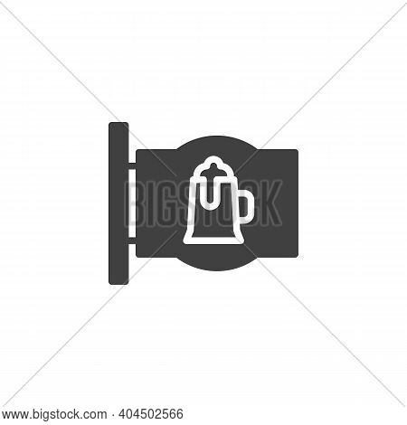 Beer Pub Signboard Vector Icon. Filled Flat Sign For Mobile Concept And Web Design. Pub Sign With Be