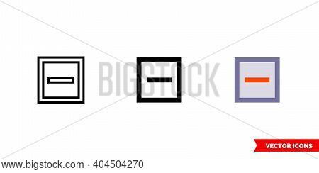 Indeterminate Checkbox Icon Of 3 Types Color, Black And White, Outline. Isolated Vector Sign Symbol.