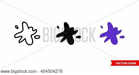 Ink Icon Of 3 Types Color, Black And White, Outline. Isolated Vector Sign Symbol.