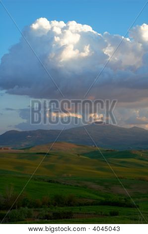 Evening Clouds Over Tuscany Mountain