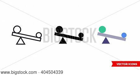 Leverage Icon Of 3 Types Color, Black And White, Outline. Isolated Vector Sign Symbol.