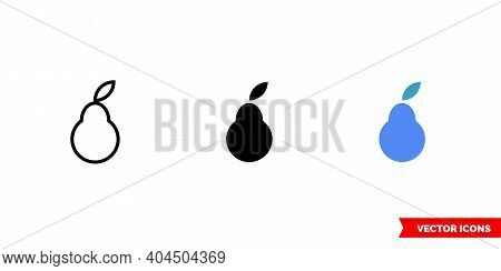 Logo Pear Icon Of 3 Types Color, Black And White, Outline. Isolated Vector Sign Symbol.