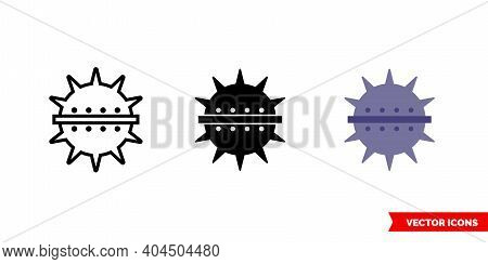 Naval Mine Icon Of 3 Types Color, Black And White, Outline. Isolated Vector Sign Symbol.