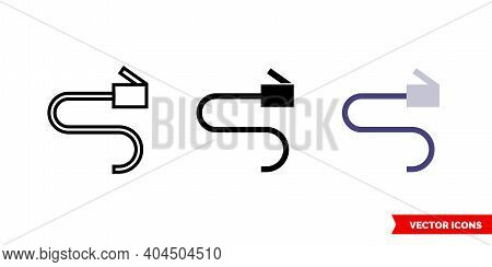 Network Cable Icon Of 3 Types Color, Black And White, Outline. Isolated Vector Sign Symbol.