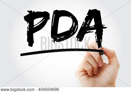 Pda - Personal Digital Assistant Acronym With Marker, Technology Concept Background
