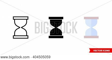 Sand Clock Icon Of 3 Types Color, Black And White, Outline. Isolated Vector Sign Symbol.